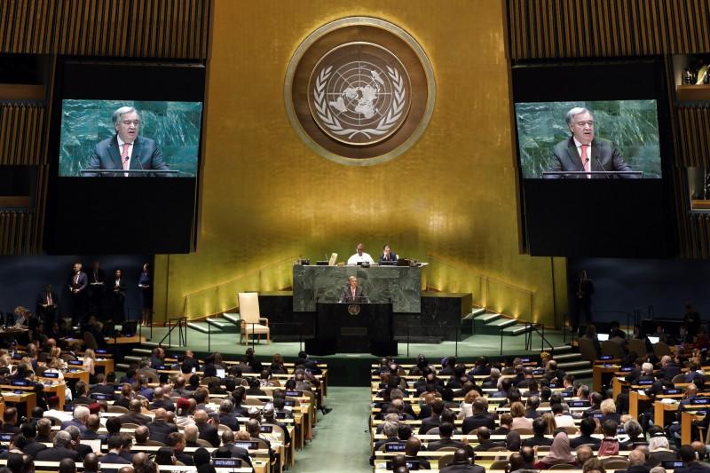 第74屆聯合國大會總辯論上,我國友邦已在今日全數發言完畢,有11國力挺台灣。圖為聯合國秘書長古特瑞斯(Antonio Guterres)。(美聯社)