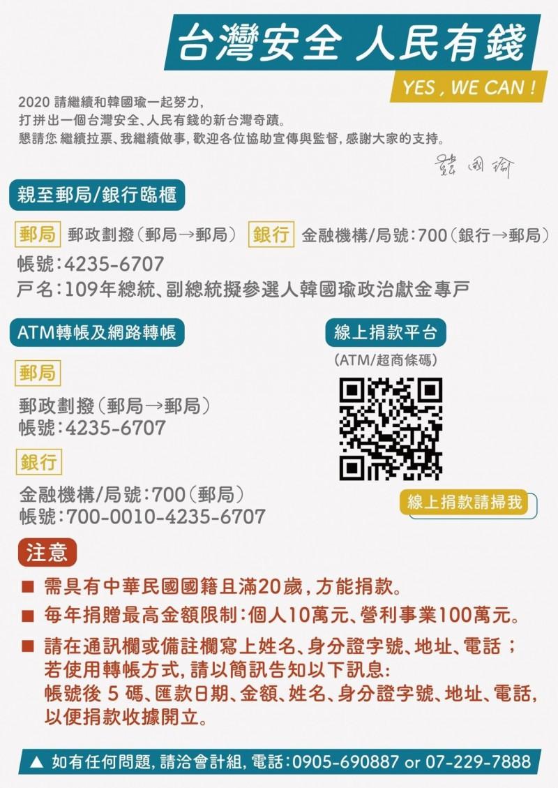 韓國瑜競選辦公室再次公布韓國瑜官方政治獻金專戶。(韓國瑜競選辦公室提供)