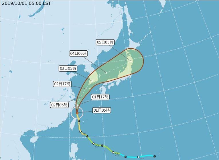 中央氣象局指出,今天(10月1日)早晨台灣本島已經脫離暴風圈。(圖擷取自中央氣象局)