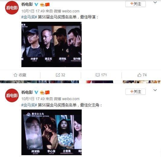 第56屆金馬獎昨(1)日公布入圍名單,談及敏感議題的電影《返校》入圍12項,不過,在中國微博、豆瓣等社群媒體上所整理的金馬入圍名單,《返校》直接「被消失」,被網友稱「此地無銀三百兩」。(圖擷取自微博)