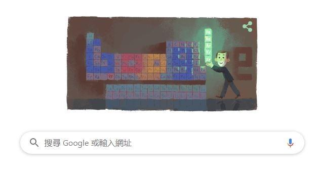 Google塗鴉今日的主題是英國化學家威廉·拉姆齊,因其發現空氣中的6個惰性氣體元素,並確定它們在化學元素週期表的位置,為表彰拉姆齊的偉大成就貢獻,谷歌在首頁紀念拉姆齊167歲冥誕。(圖擷取自Google首頁)