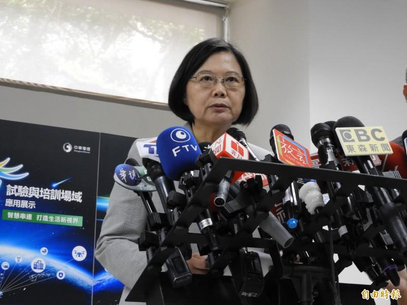 蔡英文表示,對於違法的中國人,未來將研擬入境管制措施。(記者賴筱桐攝)