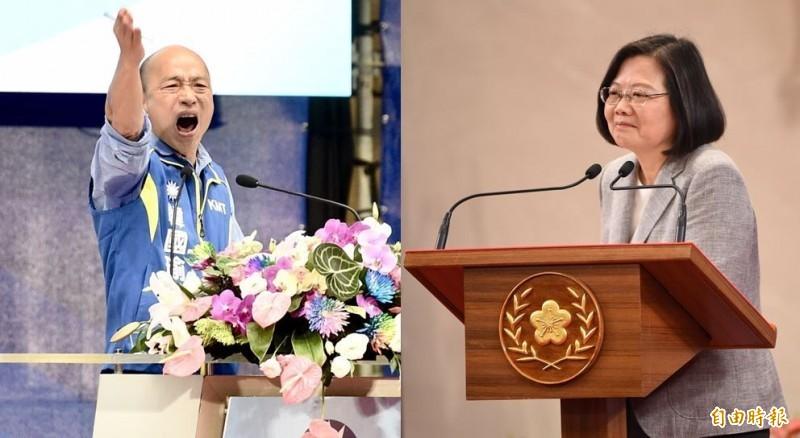 《ETtoday新聞雲》昨(2)日公布最新民調,台灣民眾最喜歡的政治人物排行出爐,第1名由總統蔡英文拿下,而高雄市長韓國瑜排名第2;不過,在最討厭的政治人物排行中,韓國瑜高居第1。(資料照,本報合成)