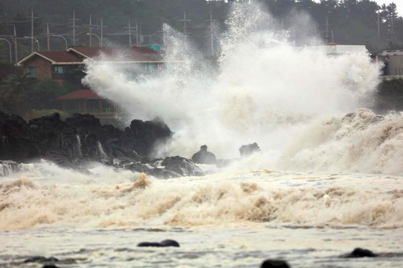 米塔颱風狂襲韓國,造成4死4傷2失蹤的災情。圖為米塔在濟州島造成的驚濤駭浪。(法新社)