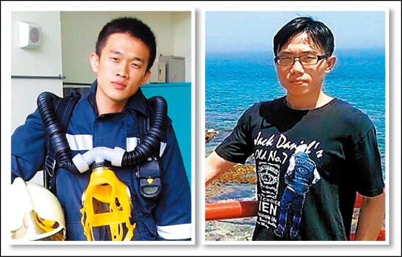特搜大隊西屯分隊隊員謝志雄(左,取自謝志雄臉書)及張哲嘉(右,取自張哲嘉臉書)被大火吞噬殉職火場。