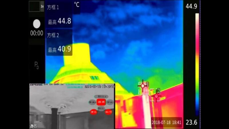 環保人員用熱顯像儀器,發現宏全公司不正常使用環保設備,煙囪溫度僅有40多度。(記者張瑞楨翻攝)