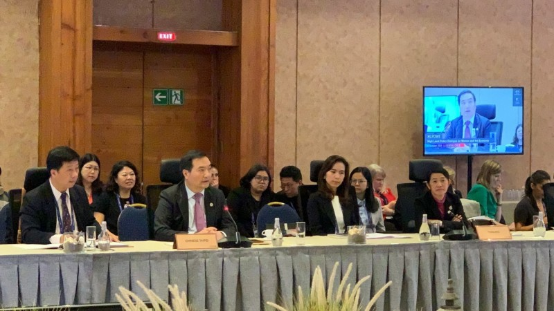 行政院政務委員羅秉成(左二)在APEC婦女與經濟論壇中呼籲APEC領導領袖和部長們高度重視性別主流化,提升各部門人員的性別意識。(行政院性平處提供)