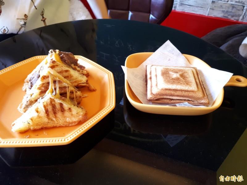 店內的招牌吐司和熱壓吐司選用新竹市知名花生醬和丹麥軟吐司和美國頂級牛肉,好吃又具視覺感。(記者洪美秀攝)
