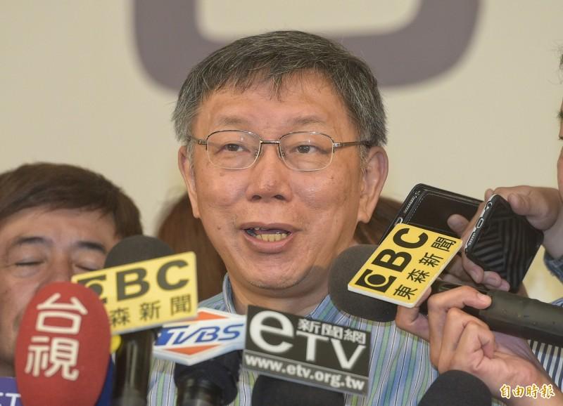 中國香港特區政府祭出「禁蒙面法」,要反制「反送中運動」,台北市長柯文哲今表示,重點不是老百姓蒙面不蒙面,而是政府不要把自己的眼睛蒙住。(記者張嘉明攝)