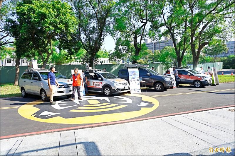 自駕車高精地圖,透過有GPS定位的車輛巡迴園區取得。(記者謝武雄攝)