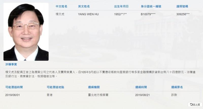 潤寅代表人楊文虎疑已潛逃香港,遭到通緝。(記者黃捷翻攝)