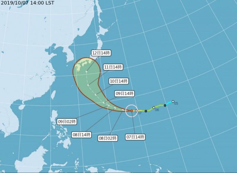 中颱「哈吉貝」預計未來偏西北西朝日本及琉球群島一帶移動,提醒計畫要在雙十連假前往日本的民眾多留意。(圖擷取自中央氣象局)