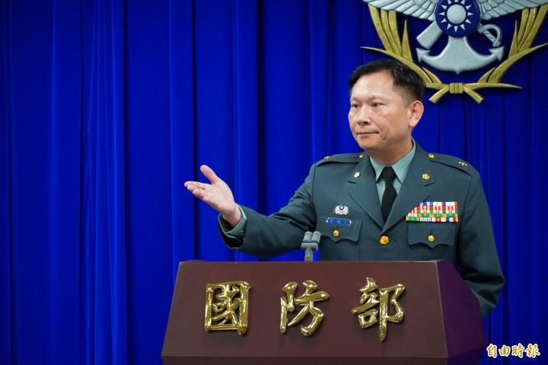國防部發言人史順文今日主持記者會。(記者涂鉅旻攝)