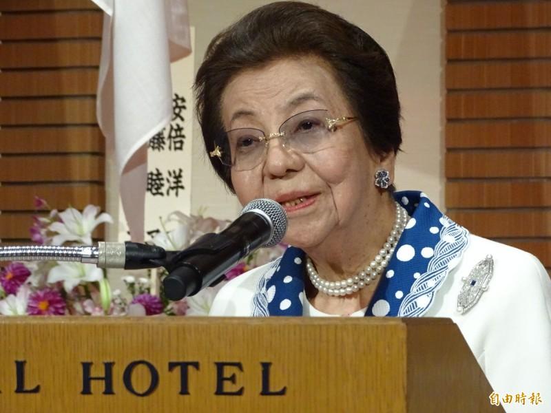日本首相安倍晉三的母親安倍洋子連3年親臨國慶酒會。(記者林翠儀攝)