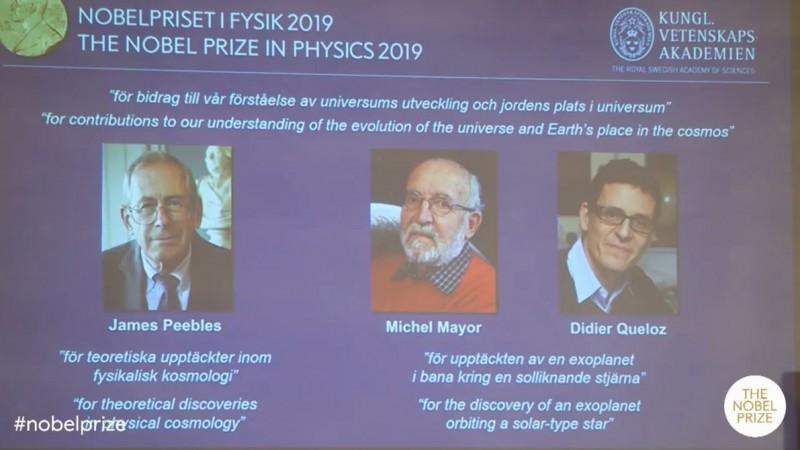 2019諾貝爾物理學獎(Nobel Prize in Physics)今(8)日揭曉,由加拿大物理學家皮布爾斯(James Peebles),以及瑞士天文學家麥耶(Michel Mayor)和奎洛茲(Didier Queloz)共享殊榮。(圖擷取自諾貝爾獎官方影片)