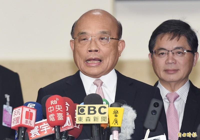 行政院長蘇貞昌今赴立法院施政報告總質詢,會前受訪。(記者廖振輝攝)