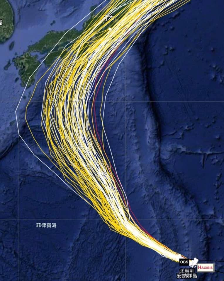 強烈颱風「哈吉貝」今日持續朝西北西方向轉往日本南方移動,氣象局指出,哈吉貝可能變成「今年最強颱風」,預估週六、日將開始影響日本天氣。(圖擷自賈新興臉書)