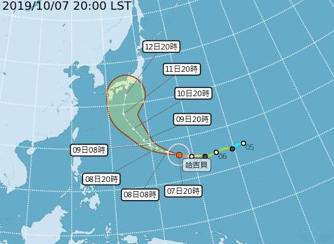 氣象局研判,颱風恐在週末影響包含東京在內的日本四國、九州與本洲南部地區。(圖擷取自中央氣象局)