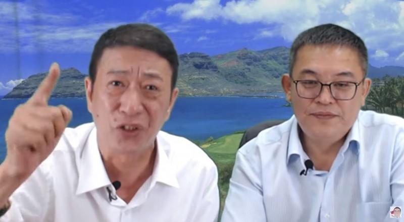 林國慶(左)8日和挺韓大將陳清茂(右)合體開直播,狂言「沒人比習近平愛台灣」,影片曝光讓網友全傻眼。(圖片擷取自陳清茂YouTube)