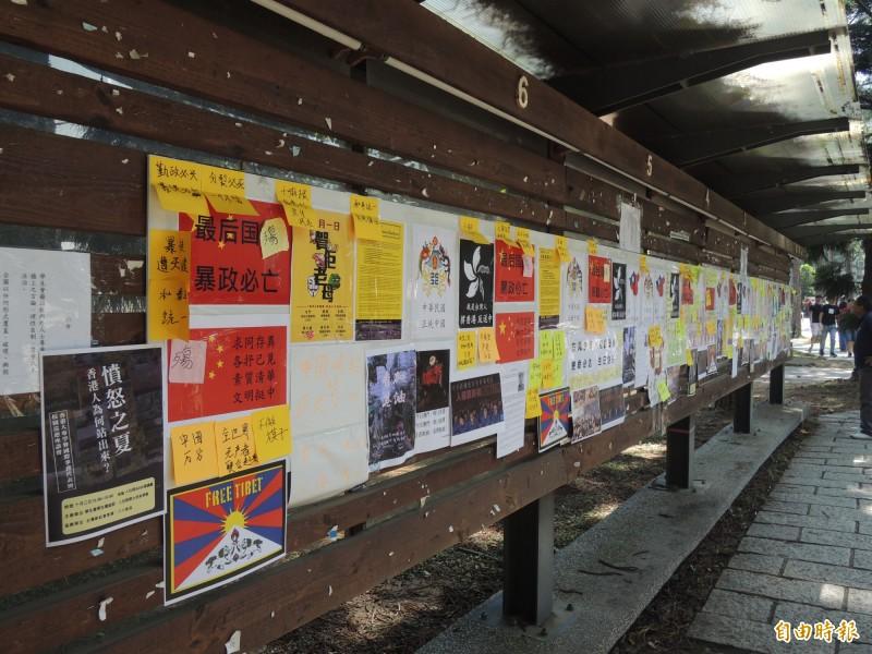 清大連儂牆日前發生海報被破壞事件。(資料照)
