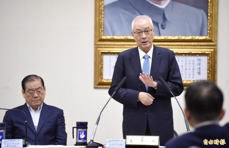 國民黨主席吳敦義說,如果五權憲法相互監督制衡機制被民進黨破壞殆盡,就將真的變成「民進黨一權獨大」,「那是非常危險的!」(記者羅沛德攝)