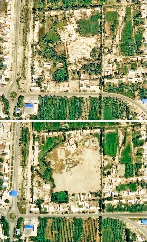2014年以來,中國政府已在新疆摧毀至少45處維吾爾族墓地,其中30座是在這兩年間被掘墳、夷平。沙雅縣一座墓地2017年8月29日與今年7月5日空照圖顯示,該處墓地如今已被清空。(法新社)