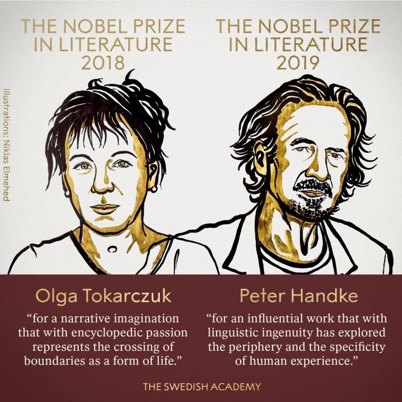 瑞典學院今(10)日揭曉2018年和2019年諾貝爾文學獎,由波蘭女作家奧爾嘉·朵卡萩(Olga Tokarczuk)和奧地利作家彼得·漢德克(Peter Handke)獲得諾獎桂冠。(圖取自諾貝爾獎官方推特)