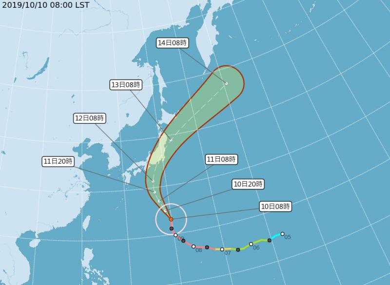 「哈吉貝」將在週末侵襲日本,恐直撲本州地區,危險區將涵蓋包含東京在內的關東一帶。(中央氣象局)