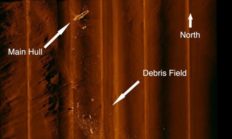 「RV Petrel」在4736公尺深的海底發現「聖羅號」,其殘骸碎片遍布海溝。(圖擷自臉書「RV Petrel」)