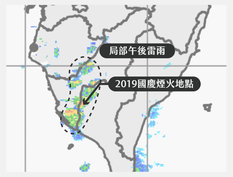 天氣即時預報指出,雷雨在太陽下山後快速消散,請前往觀賞煙火的民眾不用太擔心。(擷取自「天氣即時預報」臉書專頁)