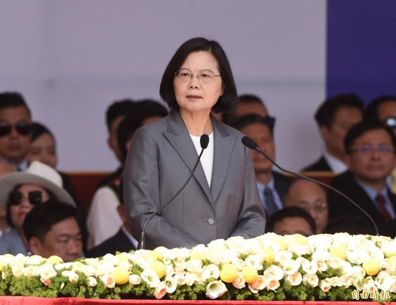 總統蔡英文今於國慶大會發表演說。(記者王藝菘攝)