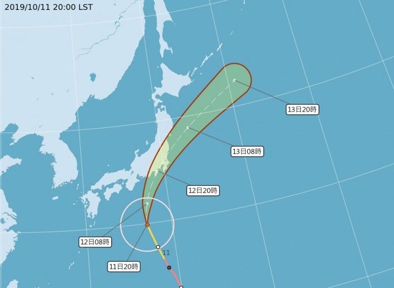 哈吉貝明後天侵襲日本關東。(取自氣象局網站)