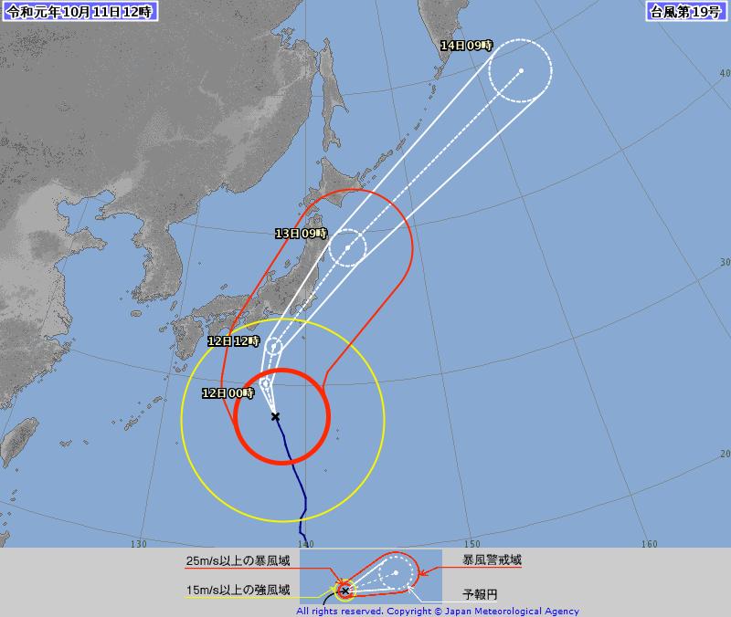 今年第19號颱風哈吉貝朝著日本前進,日本氣象廳今天表示,哈吉貝的威力強勁,可與1958年的颱風艾達(Ida)相匹敵,當時艾達在靜岡和關東地區造成1200多人喪生。(日本氣象廳)