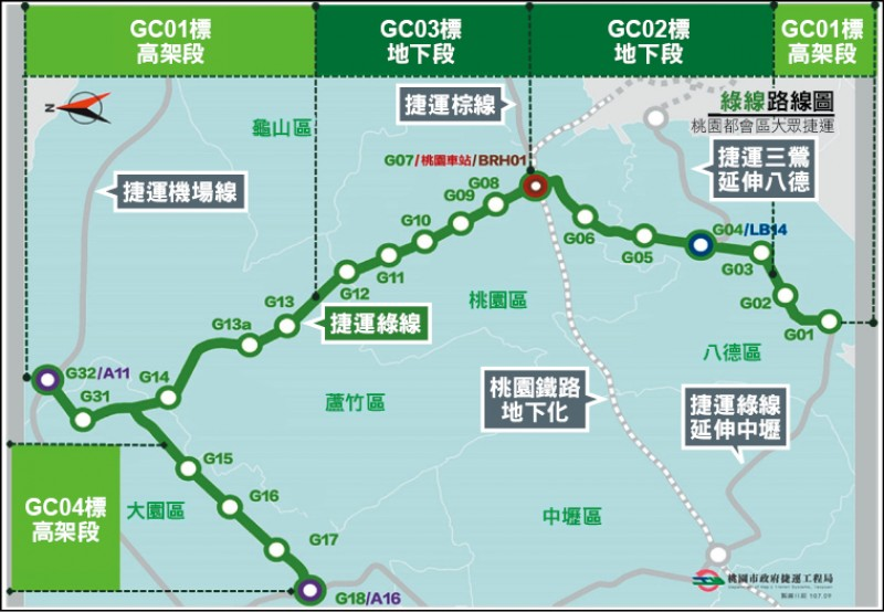 捷運綠線主幹線部分,土木工程分為三個標案,如今已經全部動工。(捷運工程局提供)