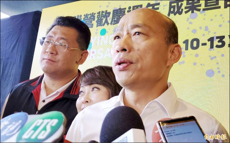 高雄市長韓國瑜昨受訪表示,國慶連假四天南北跑,但避談請假拚選舉。(記者陳文嬋攝)