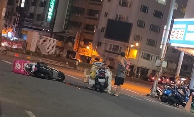 雲林晚間1名Foodpanda外送員發生車禍。(圖擷取自斗六人文社交圈)