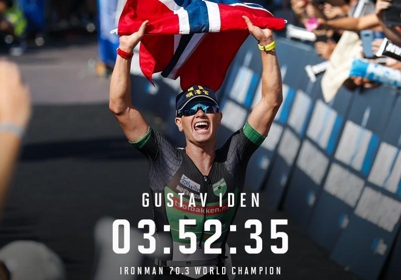 挪威選手艾登在法國尼斯鐵人三項世界錦標賽奪冠,衝線畫面清楚可見戴的帽子上有「埔鹽順澤宮」字樣。(圖擷自IRONMAN 70.3 World Championship)
