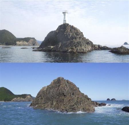 日本三重縣紀北町的長島港一個8.3公尺高的大石燈塔(上),在一夜之間就消失了,現海上僅存礁石(下)。(圖擷自尾鷲海上保安部)
