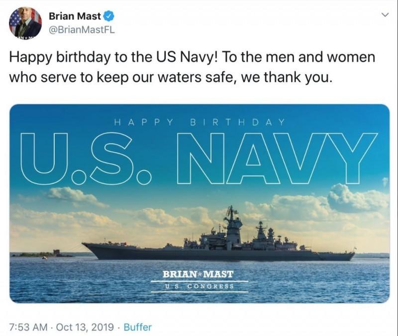 美眾議員布萊恩·馬斯特祝賀美國海軍成軍生日快樂,照片裡竟然是俄國彼得大帝號巡洋艦。(圖擷取自馬斯特推特)