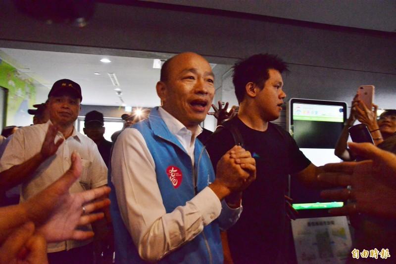 高雄市長韓國瑜宣布請假投入總統大選。(記者許麗娟攝)