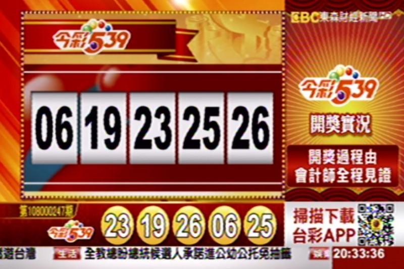 今彩539、39樂合彩開獎號碼。(圖擷自東森財經新聞)