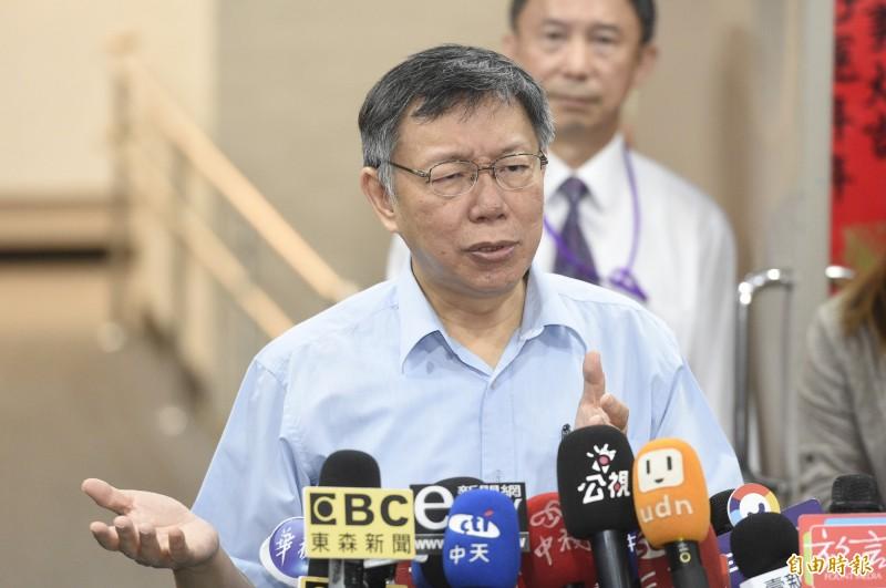 台北市長柯文哲15日出席主持市政會議,會前接受媒體訪問。(記者叢昌瑾攝)