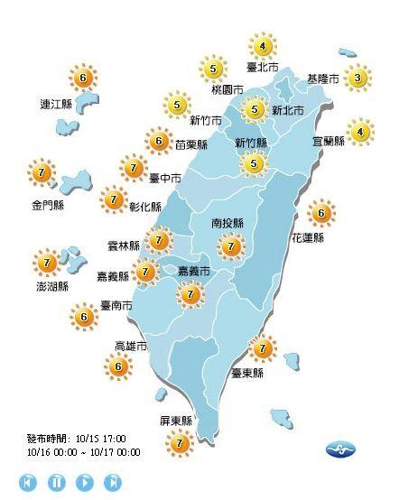 紫外線方面,明日台北市、新北市、基隆市、桃園市、宜蘭縣、新竹市、新竹縣為中量級,全台其他縣市則皆為高量級。(擷取自氣象局)