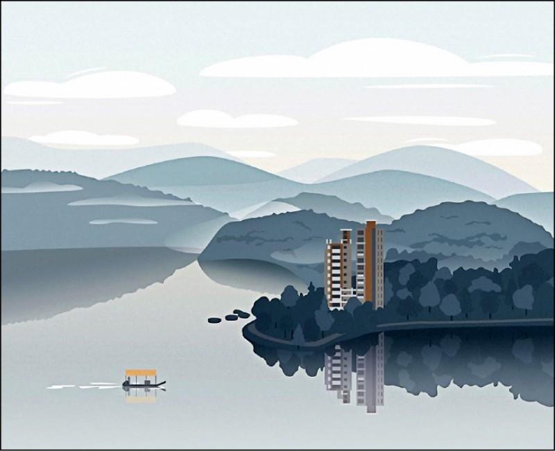 俄國插畫家卡佳在IG貼出新作品,內容是她來台第一晚住在日月潭的山水風景。(圖:取自IG)