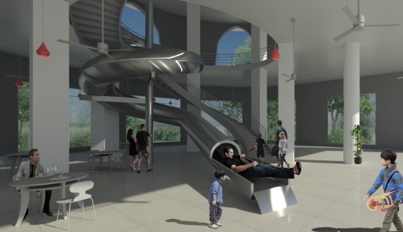 打造兩層樓大型溜滑梯 南寮旅服中心變身兒童新樂園!