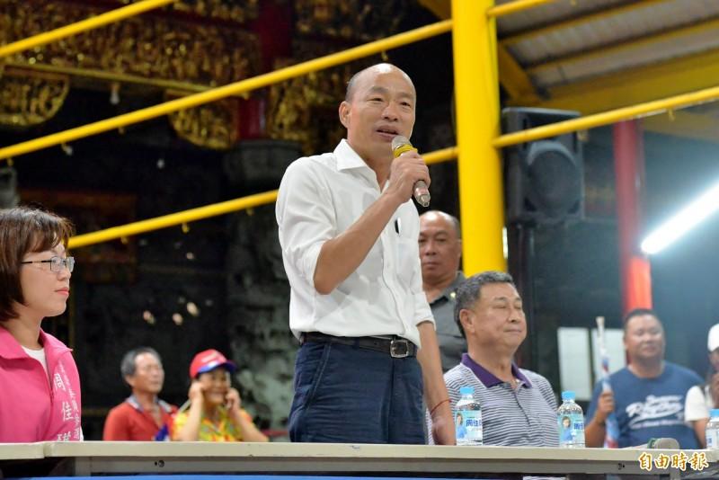韓國瑜指自己是第一次踏上小琉球。(記者許麗娟攝)