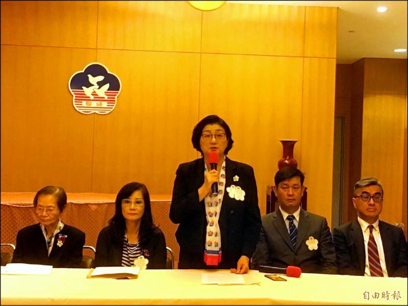 婦聯會主委雷倩昨說明表決結果,婦聯會將不轉成政黨。(記者楊綿傑攝)