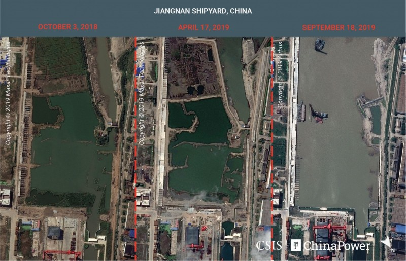 美智庫釋出中國002型航母工廠衛星照,可以看到去年10月到今年4月和9月工廠碼頭的變換。(路透)