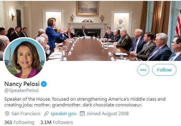 裴洛西把照片設為推特封面,引起美國網友討論。(擷取自裴洛西推特)