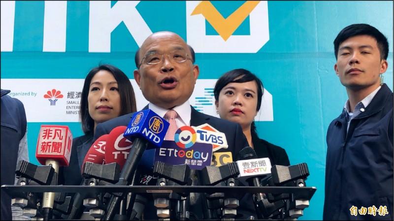 行政院長蘇貞昌昨天出席「林口新創園」活動時受訪表示,韓國瑜在高雄開很多支票都跳票,相信大家看得清清楚楚。(記者周湘芸攝)